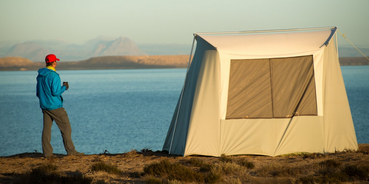 Tent set up at a whale watching camp