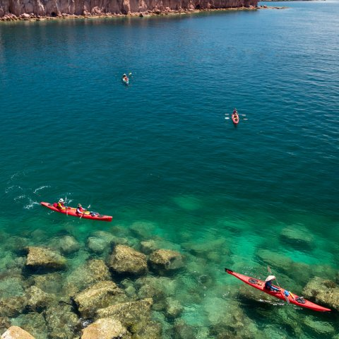 sea kayaks in the sea of cortez near LaPaz