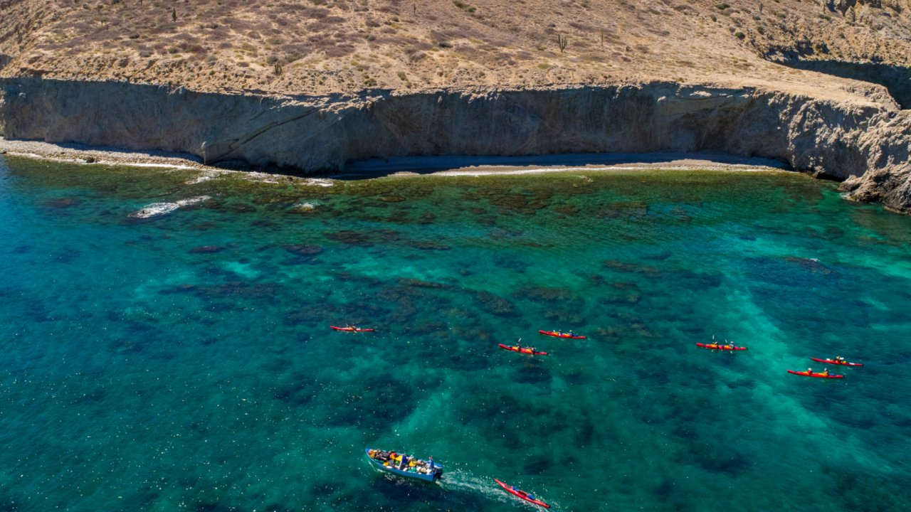 sea kayaks with support boat in baja california sur