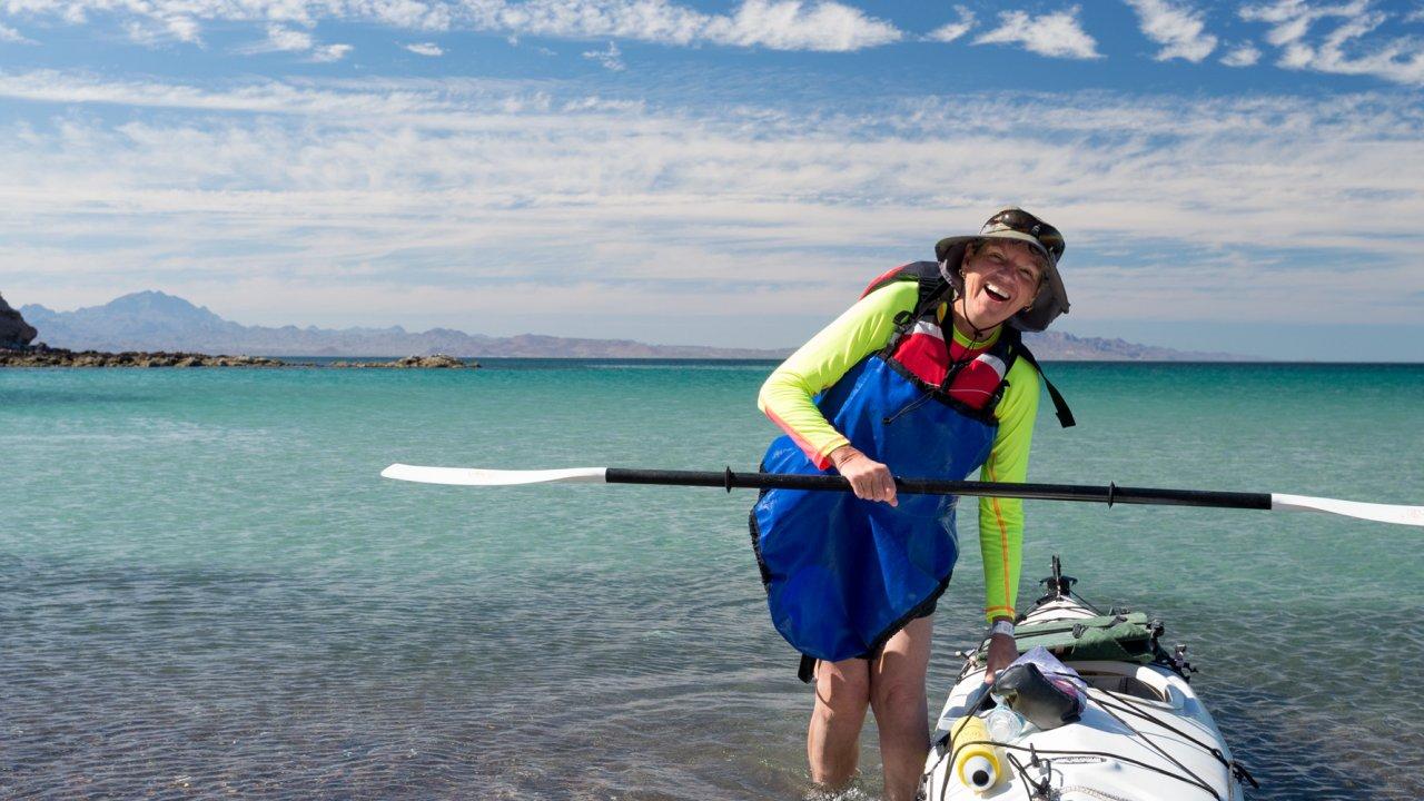 sea kayaker in Baja