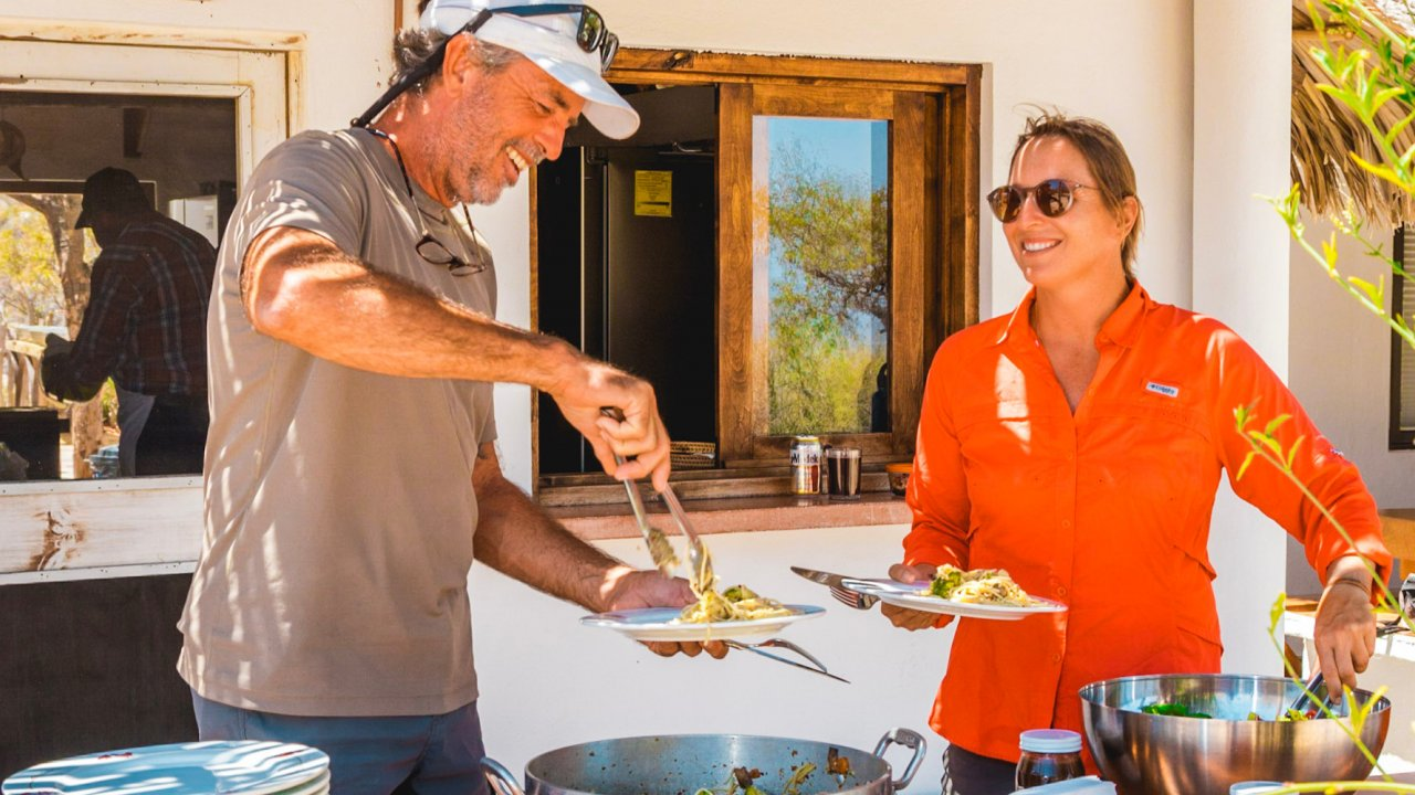 dining at an eco ranch in baja