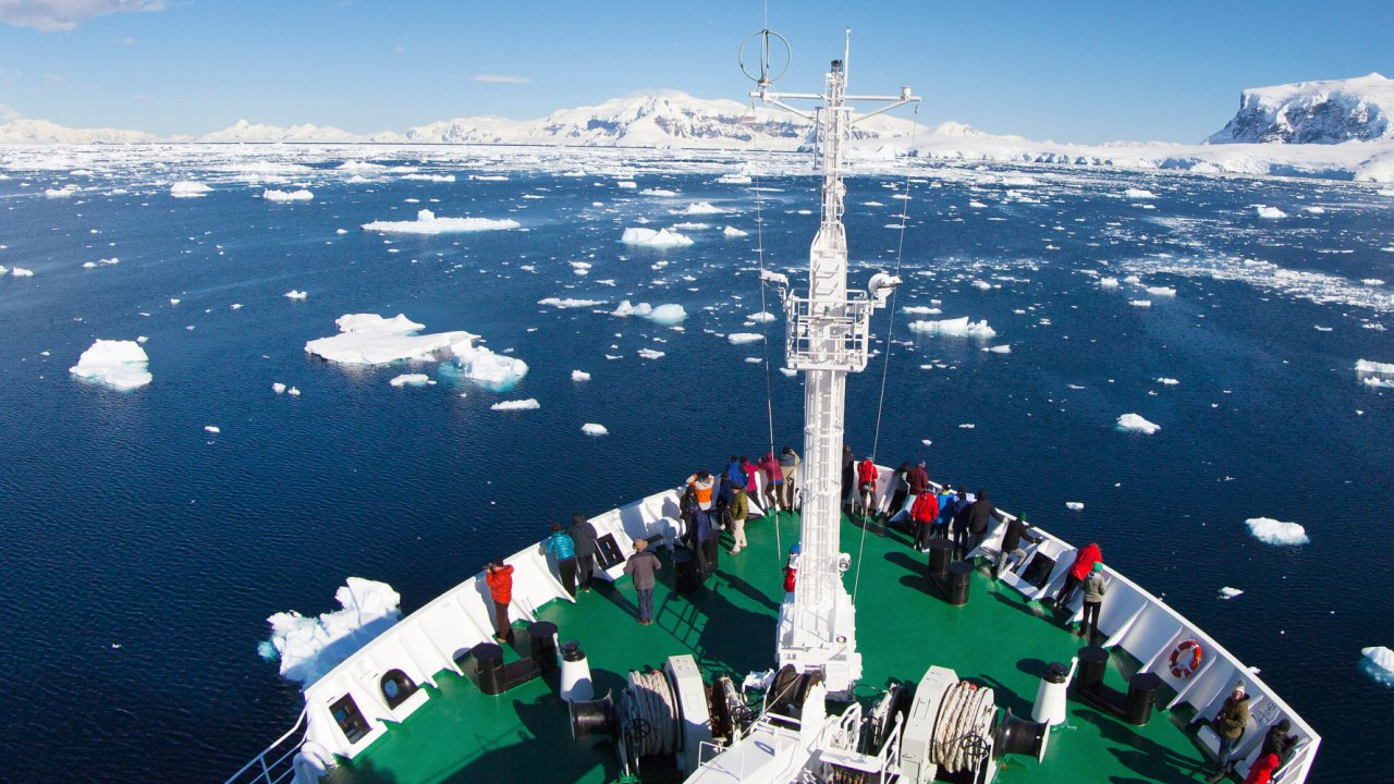 ship in antarctic waters