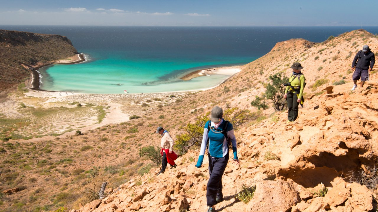 hikers on isla espiritu santo