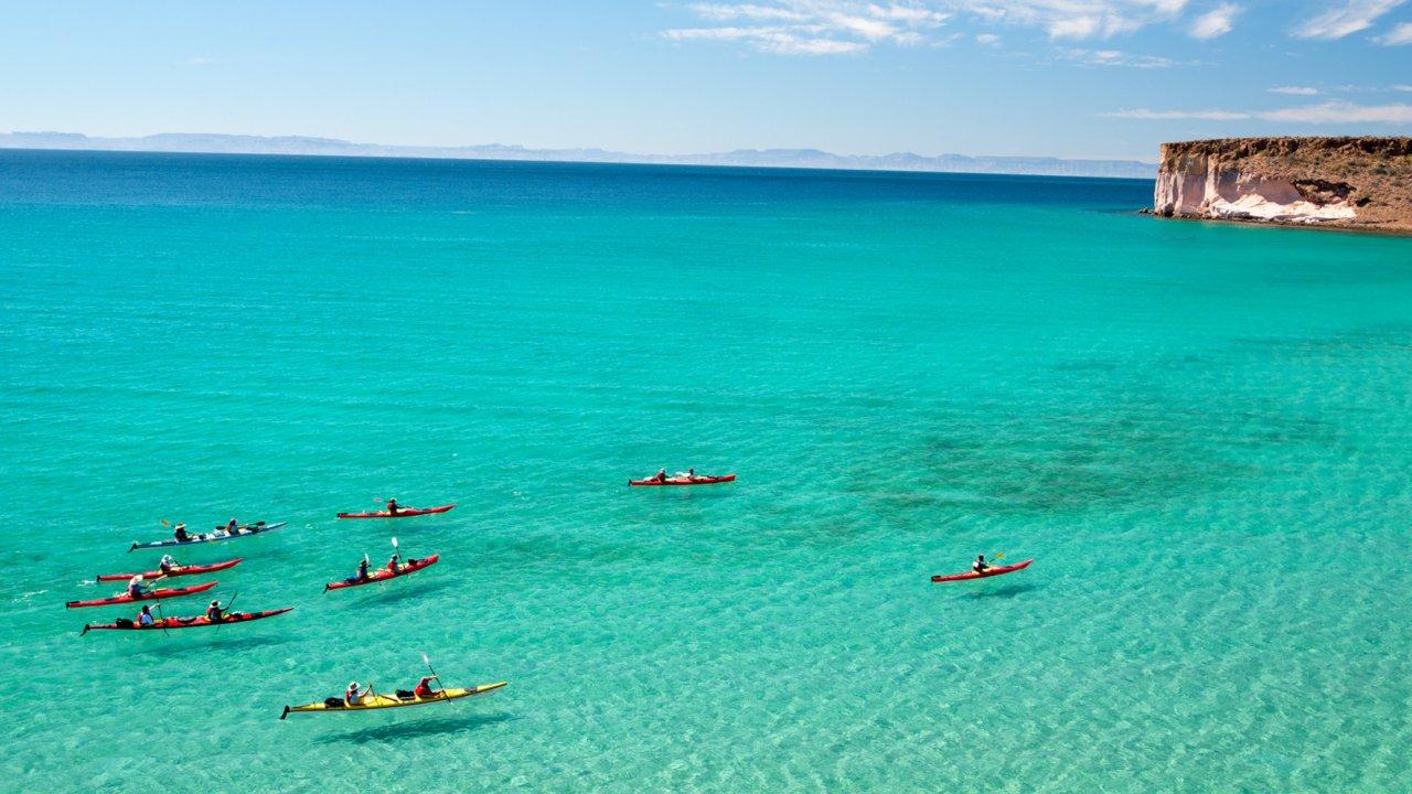 kayaks near espiritu santo island, baja