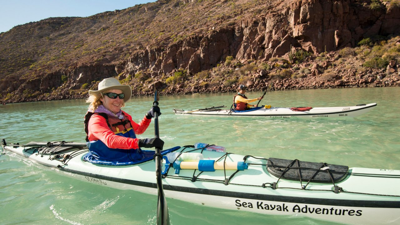 woman sea kayaking