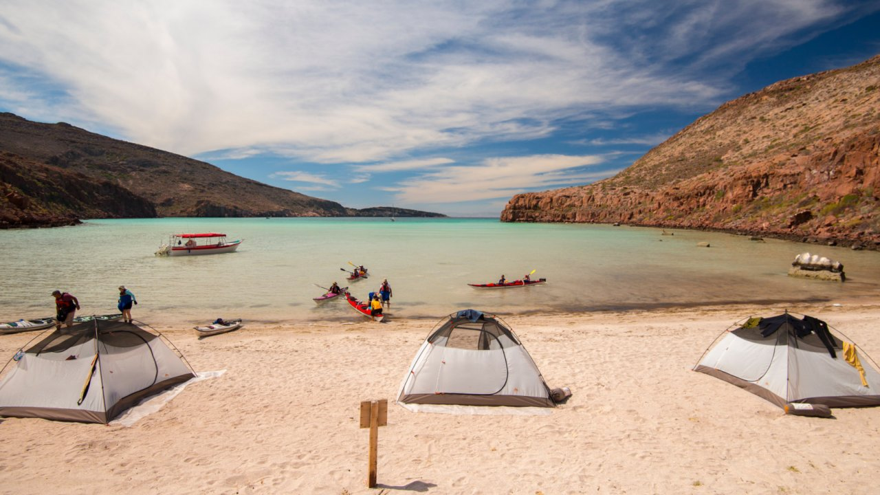beach camp with tents baja