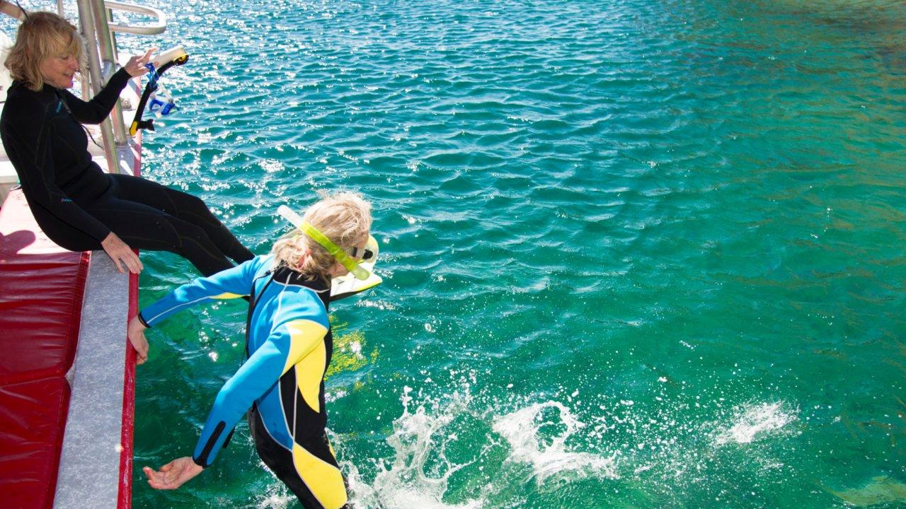 women snorkeling in Baja