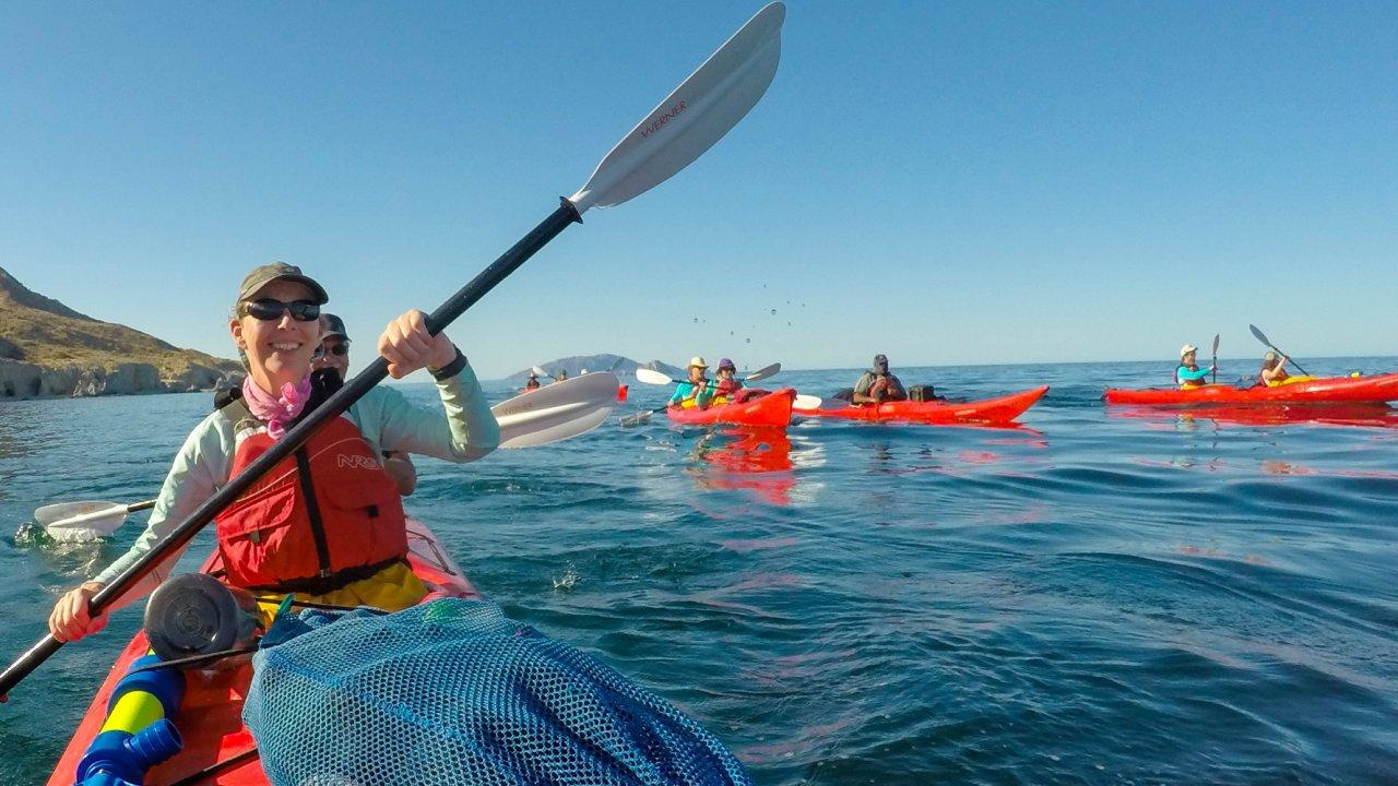 sea kayaks in sea of cortez