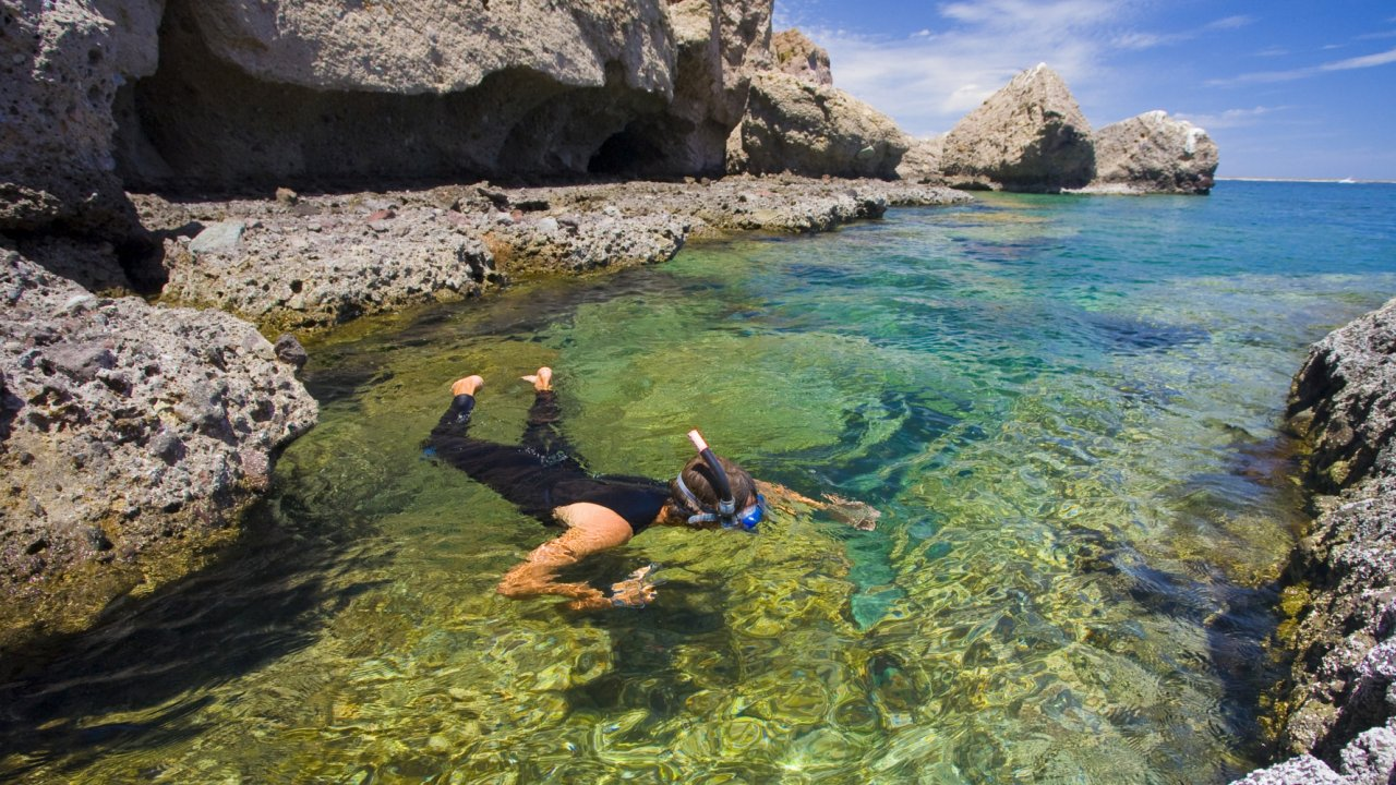 woman snorkeling in sea of cortez