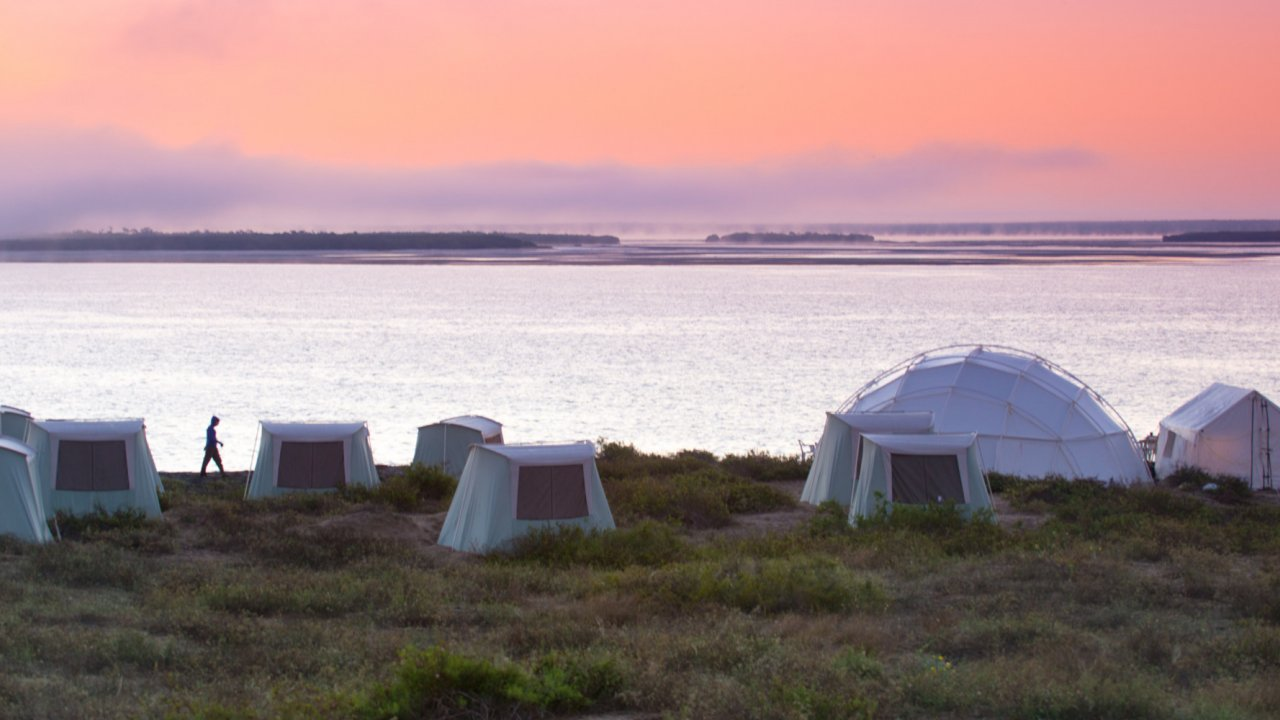 whale camp with dome tents in baja