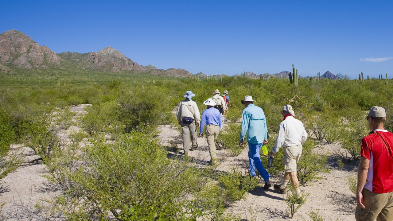 people hiking on carmen island, loreto Baja