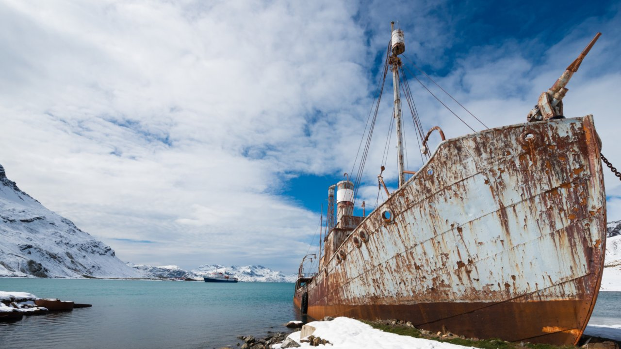 old whaling ship in antarctica