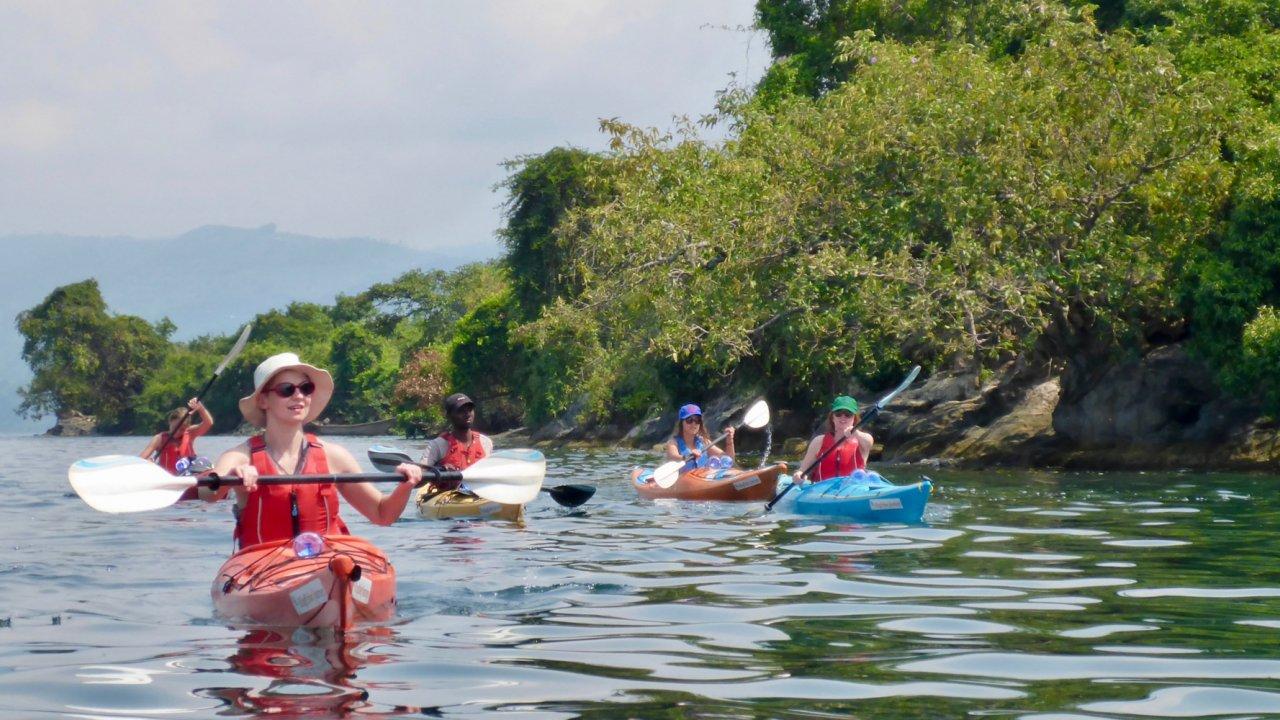 kayaks on lake Kivu Rwanda