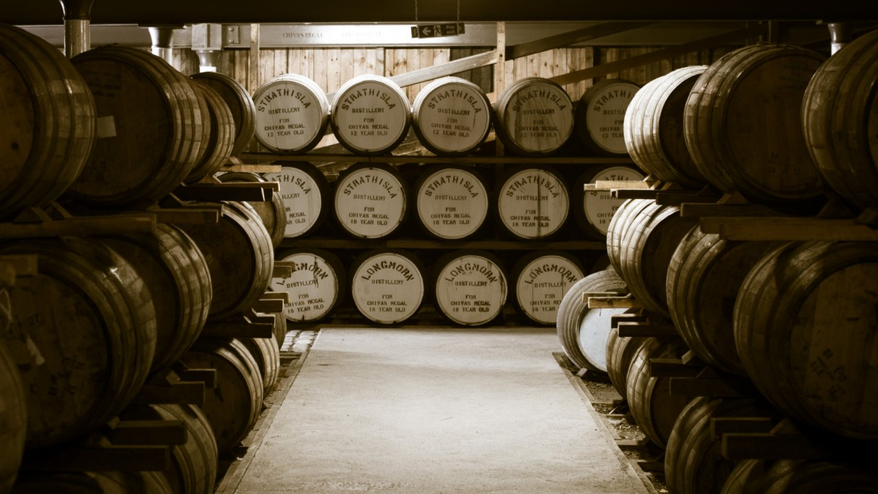whisky barrels in Scotland distillery