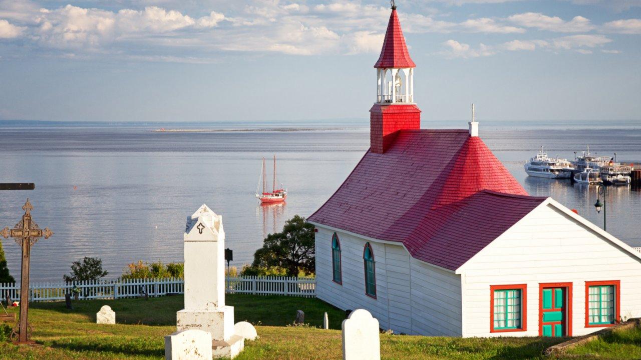 white church in Tadoussac Quebec