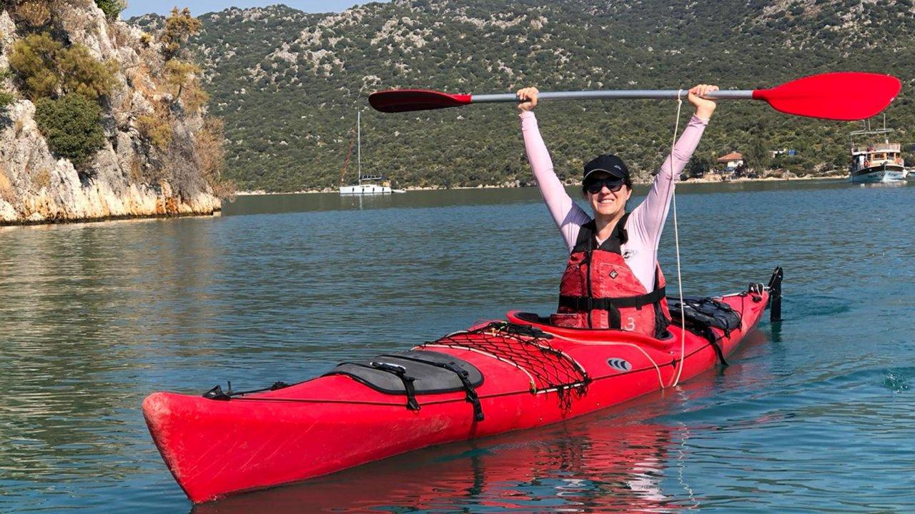 woman kayaking in turkey
