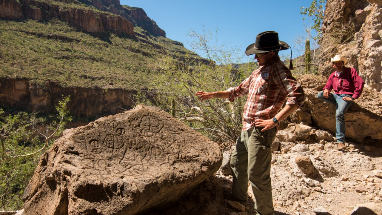 man looking at rock carvings in baja mexico