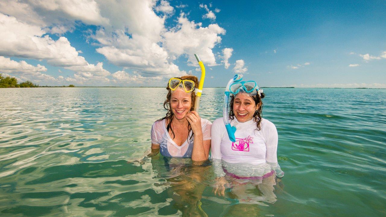 women snorkeling in cuba