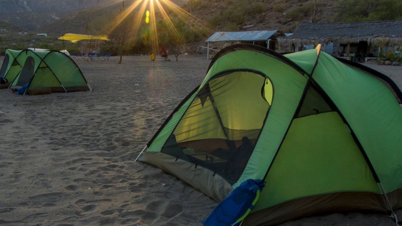 tents on beach in baja