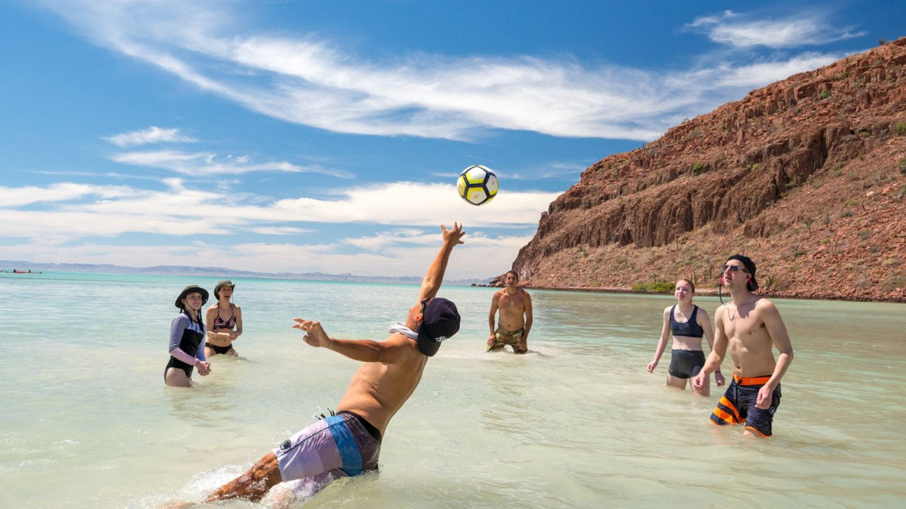 playing volleyball in sea of cortez