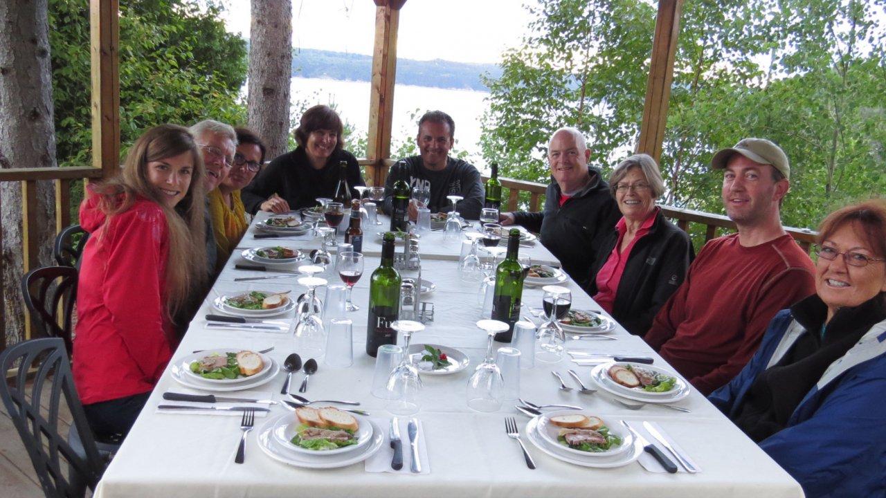 group at dinner during kayaking tour