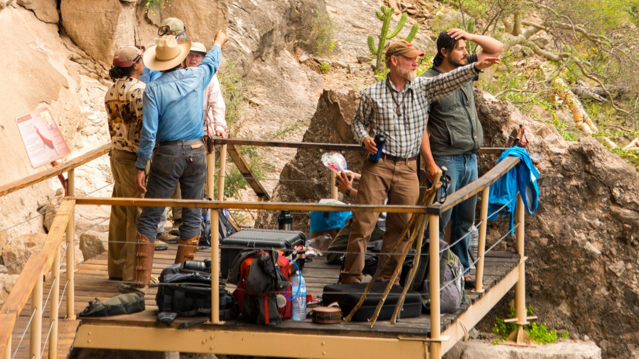 group on a viewing platform in national park in Baja