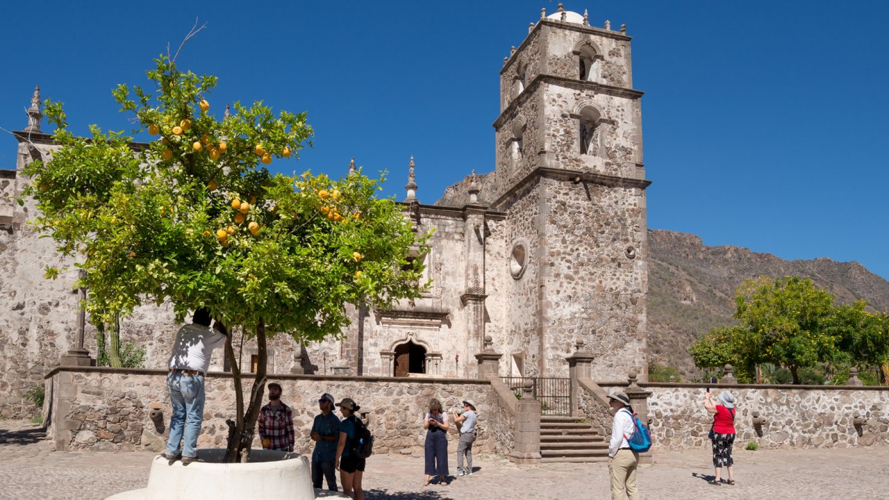 people touring san javier mission baja