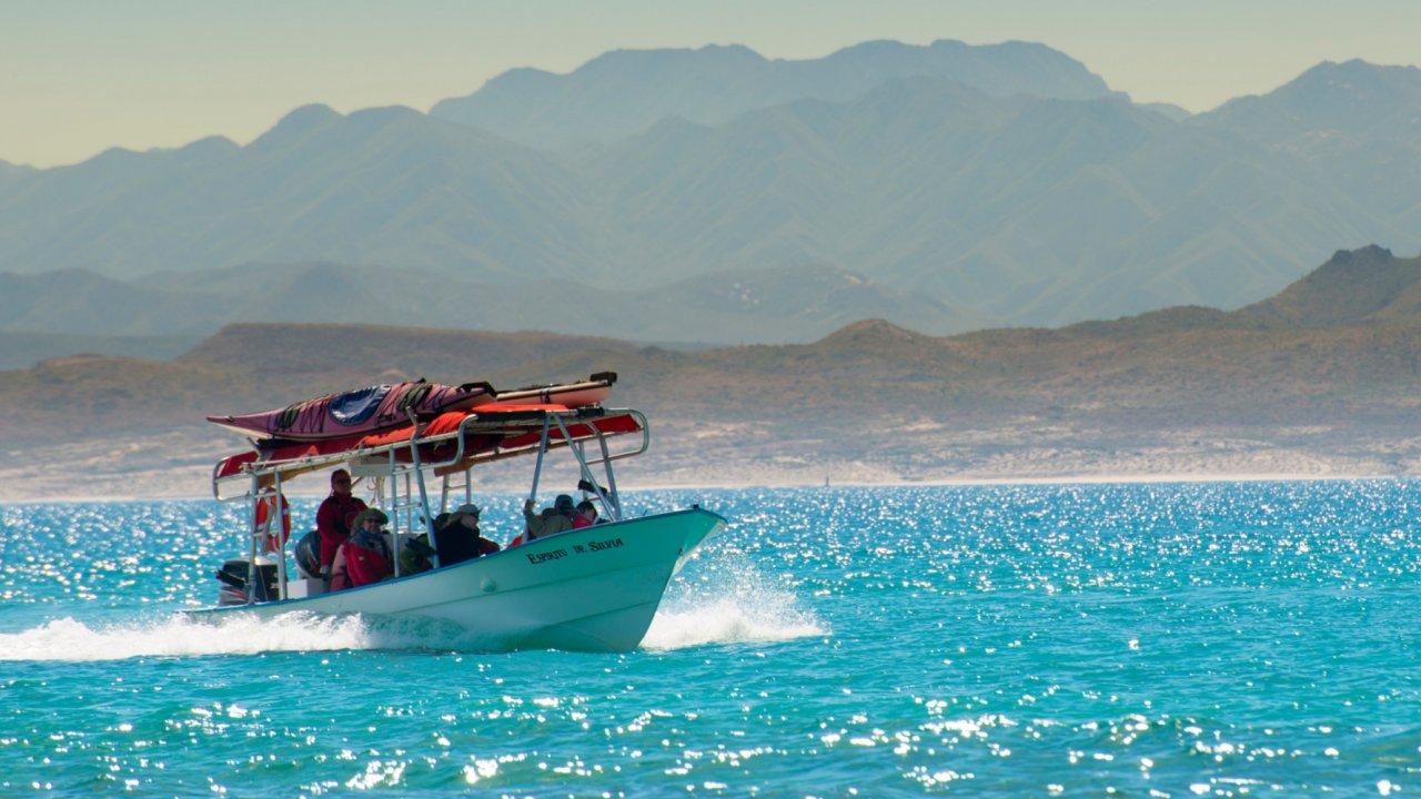 panga with sea kayaks in baja