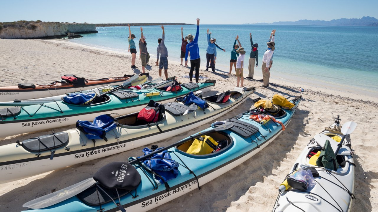group of sea kayakers Baja