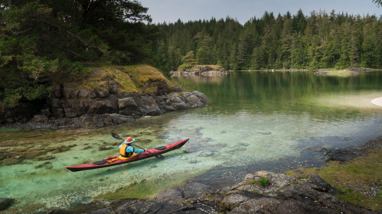 sea kayak along compton island British Columbia