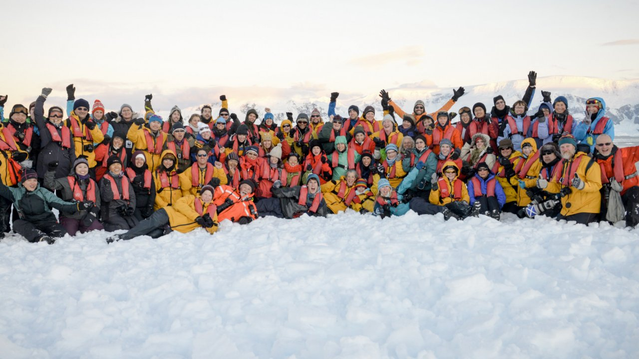 group of travelers in Antarctica