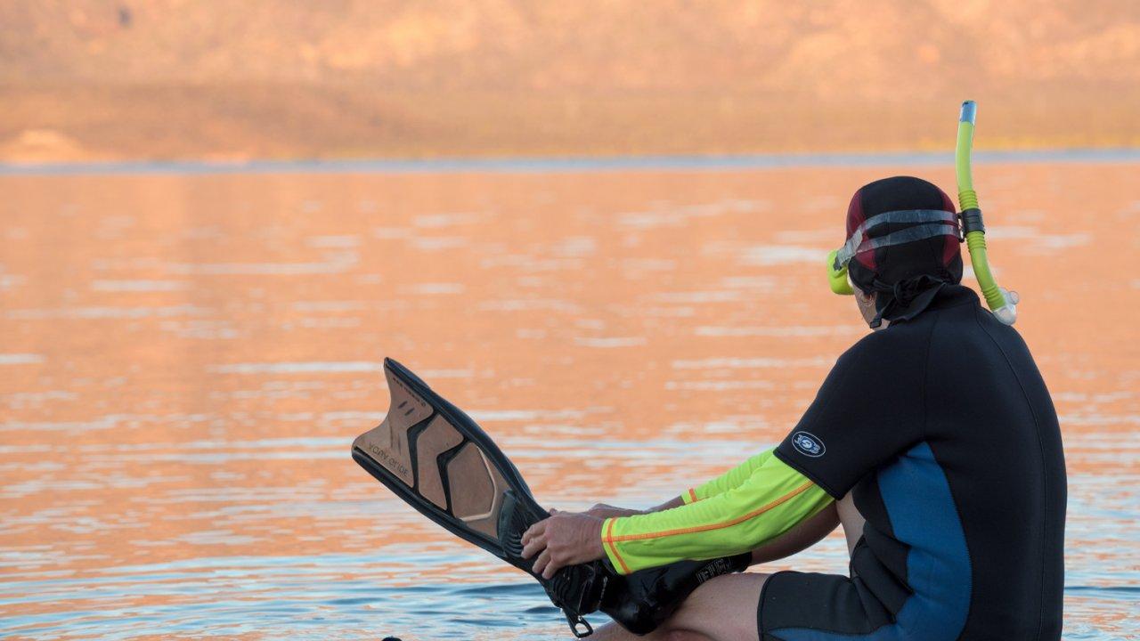 person in snorkel gear baja