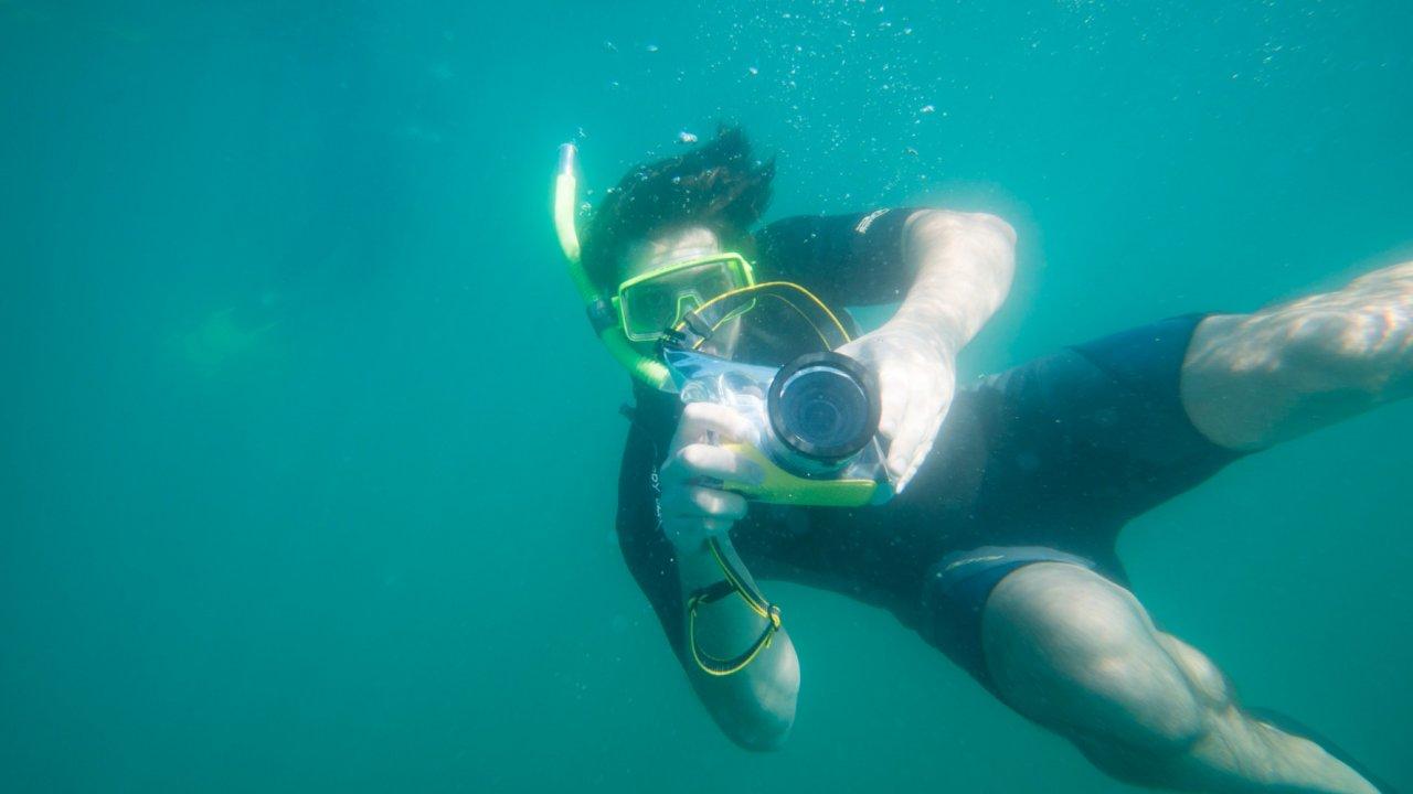 man snorkeling in lapaz baja