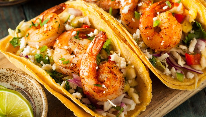 fresh shrimp tacos with lime in baja mexico