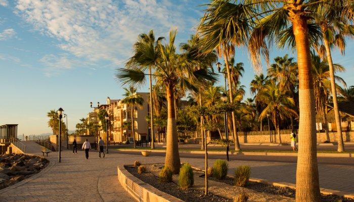 people walking along the malecon in Loreto, Baja
