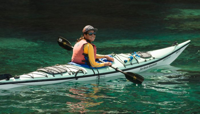 sea kayak in teal water